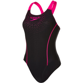 speedo Gala Logo Medalist Swimsuit Damen black/electric pink